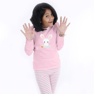 Pink Full Sleeve Girls Pyjama- Bunny